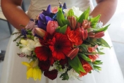 Wedding Bridal flowers, colours of the rain bow