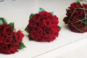 Red roses wedding posy