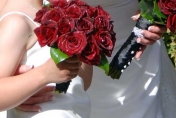Red roses wedding posie