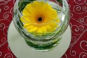 Wedding table flowers - yellow gerberas