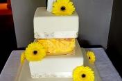 Cake wedding flowers - yellow gerberas