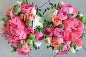 Peony roses with white freesias and ranunculus