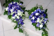 Trailing Wedding Bouquet with Blue Irises