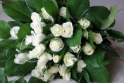 Natural hand tied wedding bouquet with white roses