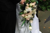 Trailing bouquet with peacock feathers, white and pink roses, bear grass