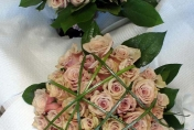 Wedding posie with something special roses and bear grass