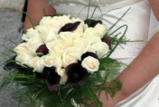 Wedding posie with cream roses and burgundy calla lilies, fern and bear grass
