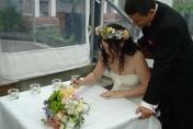 Head wreath and wedding bouquet