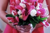 Bright pink lillies with white roses wedding posie