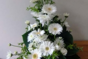 Small wedding table arrangment with white gerberas