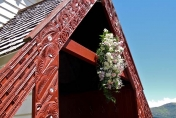 Church wedding floral hanging arrangment