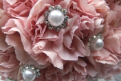 Pink carnations with diamonds and pearls