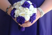 White roses and silk ribbon roses wedding bouquet
