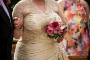 Hand tied wedding bouquet with gerberas and bear grass