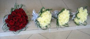 Red and white wedding bouquets
